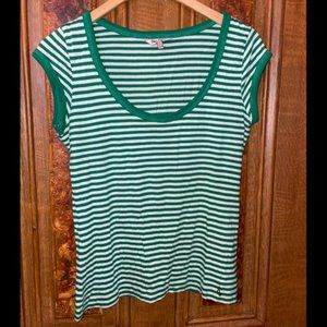 Juicy Couture Green and White Striped T-Shirt